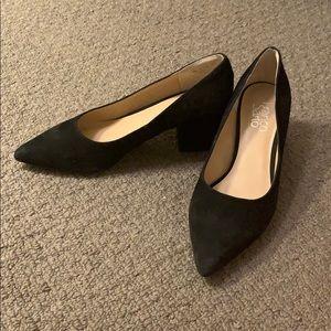 Franco Sarto black leather suede block heels